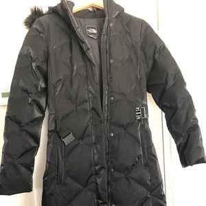 "The North Face ""550"" black long puffer jacket"